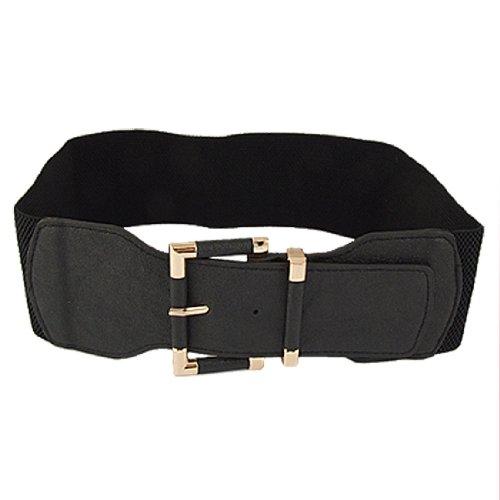 Lady Gold Tone Square Pin Buckle Blk Elastic Waist Belt