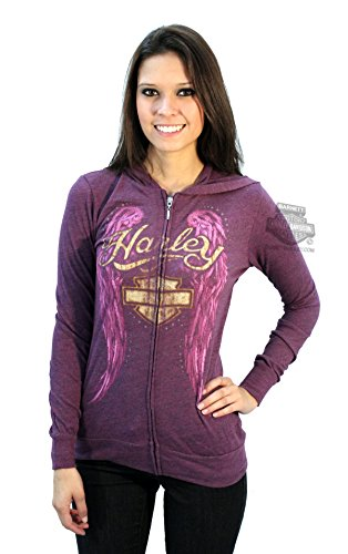 Harley-Davidson Womens Purple Angel Wings Hooded Purple Long Sleeve T-Shirt - SM