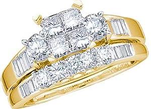 Ladies 10k Yellow Gold 1 Ct Princess Baguette Round Cut Diamond Wedding Engagement Bridal Ring Set
