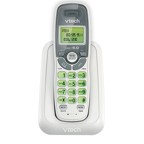 VTECH CS6114 DECT 6.0 Cordless Phone, White/Grey, 1 Handset