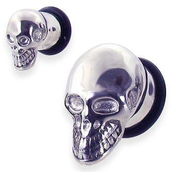 Skull Head Stainless Steel Plug,Gauge:0