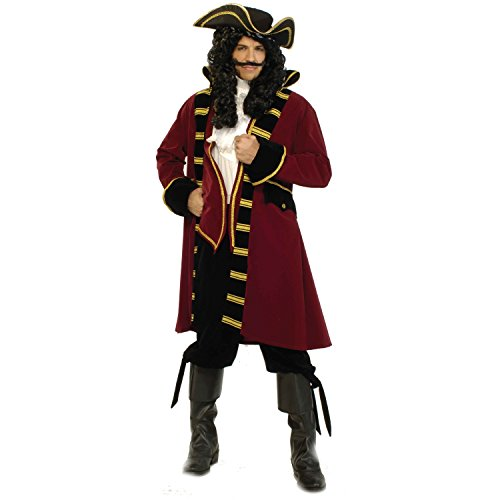 Adult Pirate Deluxe Costume Captain Hook Morgan Peter Pan Buccaneer Movie