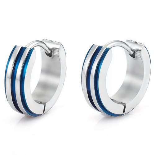 Stainless Steel Hoop Earrings for Men Silver Metallic Blue