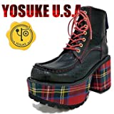 YOSUKE U.S.A ヨースケ クロコ型押し×タータンチェックのメンズ厚底ブーツ レースアップ