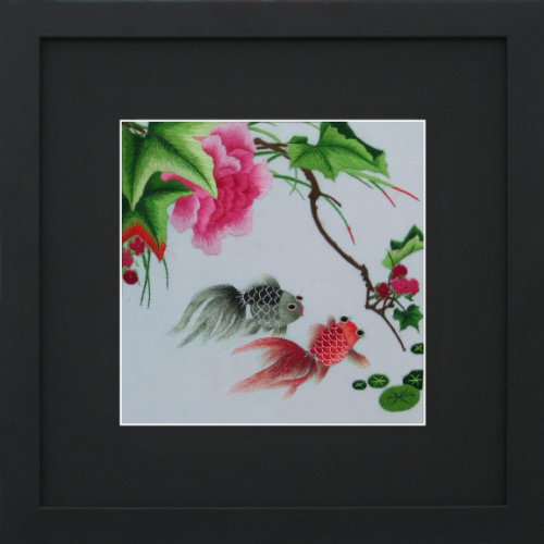 King Silk Art 100% Handmade Embroidery Two Goldfish In Peonies Chinese Print Framed Wildlife Fish Painting Gift Oriental Asian Wall Art Décor Artwork Hanging Picture Gallery 32003Bf