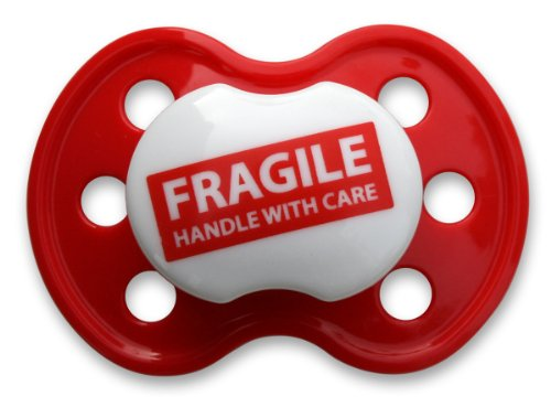 BooginHead Pacifier, Fragile Handle with Care Red (Discontinued by Manufacturer) - 1