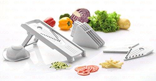 Mandoline Slicer - Vegetable Slicer - Food Slicer - Vegetable Cutter - Cheese Slicer - Vegetable Julienne Slicer with Surgical Grade Stainless Steel Blades (White) (Food Slicers compare prices)