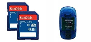 4GB SanDisk Class 4 SD Flash Memory Cards (Retail Package 2 Pack) with BONUS High Speed USB SD/SDHC Card Reader (Supports SDHC/SDXC and MicroSD/SDXC)