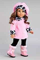 Elegance - Pink fleece coat, matching hat, black pants and pink boots - Clothes for 18 inch Dolls