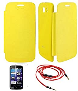 TBZ Flip Cover Case -Yellow for Micromax A110 Canvas 2 Superfone with Screen Guard and AUX Cable