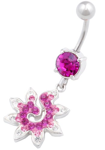 Beautiful Star 2 Dangly Belly Button Ring 14G 3/8 Stainless Steel Navel Piercing Bar Body Jewelry Bffv