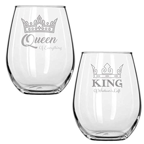 Queen of Everything - King of Whatever's Left - Couples Gifts - Gifts for Women - Engraved - Funny Birthday Gift - Anniversary - Housewarming - Laser Etched - Engagement Party - Handmade -