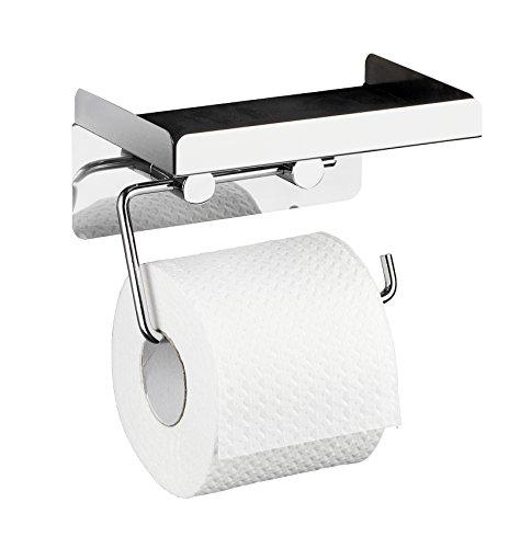 WENKO Toilettenpapierhalter 2 in 1, Edelstahl, Silber