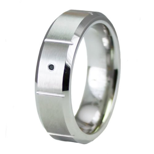 Beveled Superior Cobalt Ring Wedding Band w/ Black Diamond