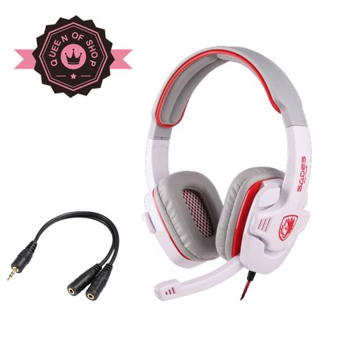 Sades Stereo Headset Headband Sa-708 Pro Game Earphone Bass Headphones With Microphone For Pc Laptop Mobile (Red)