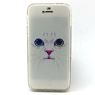 iPhone 5S Case, Sophia Shop Premium Flip Folio TPU GEL Protective Case Flexible Soft Ultra Fit Slim Anti-Scratch Cover For Apple iPhone 5/5S (White Cat)