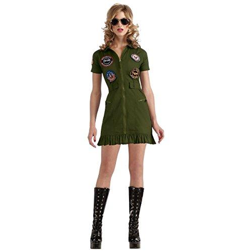 GSG Top Gun Flight Dress Costume Navy Aviator Military Pilot Halloween Dress (Ladies Top Gun Costume)