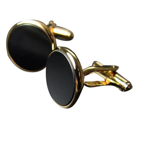 Worldfashion High-grade Gold Frame Black Agate Round Men's Cufflinks Successful Man's Easy-Match Sleeve Button Come In a Nice Gift Box by WorldFashion