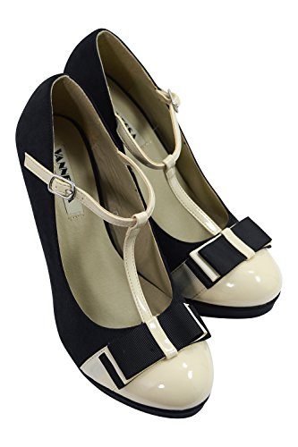 Vintage Inspired Retro Pin-up Black & Cream Two Tone Bow Accent T-strap Mary Jane Platform Stiletto Pumps 1