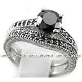 1.80ct Fancy-Black Diamond Engagement & Wedding Ring Band Set 14k White Gold Antique Style