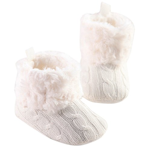 LiveBox Infant Baby Cotton Knit Premium Soft Sole Anti-Slip Mid Calf Warm Winter Prewalker Toddler Boots (S:0~6 months, White)