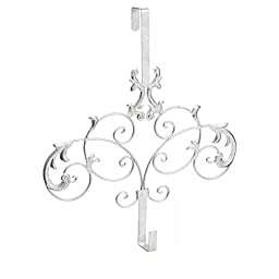 Holiday Christmas Formal Scroll Wreath Holder Over Door Mount, Decorative Wreath Hanger