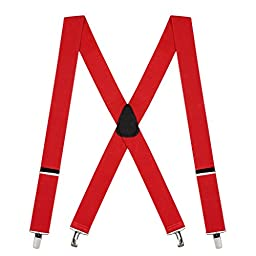 Suspender Store Mens Red Suspenders - 1.5 Inch Wide Clip 42 IN Red