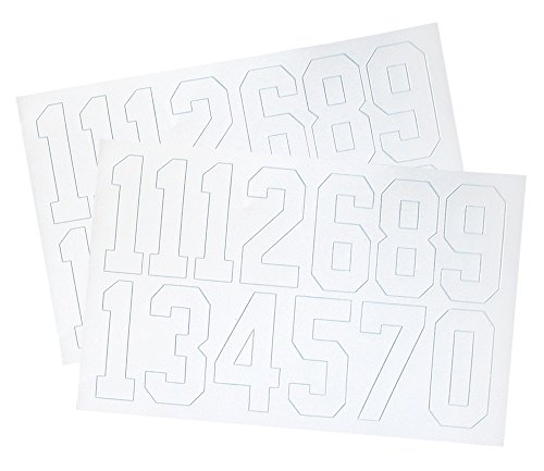A&R Sports Number Decals, 2-Inch, White