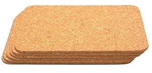 T&G Rectangular Table Mats in Cork, 28 x 20 x 0.6 cm, Set of 6