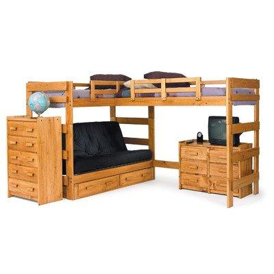 L-Shaped Futon Loft Bed with Underbed Storage