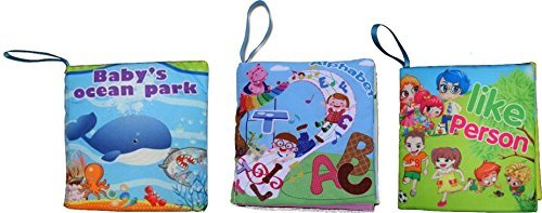 Baby Cloth Book set of 3: Baby's Ocean Park, Like Person, ABC Alphabet