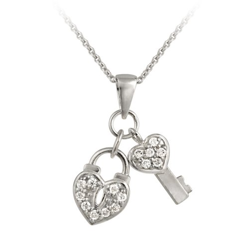 Sterling Silver Cubic Zirconia Heart Lock and Key Pendant Necklace , 18