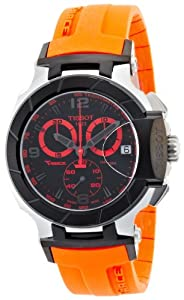 Tissot Men's T-Race Quartz Orange Strap Chronograph Dial Watch Black T0484172705704