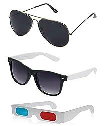 Hrinkar Aviator Black Lens Grey Frame, Wayfarer Grey Lens Black Frame & Paper 3D Glass - HCMB088