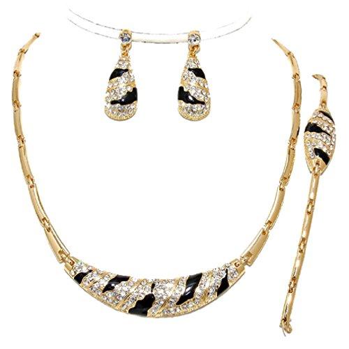 3 Pcs Elegant Luxury Gold Black Crystal Zebra Wild Print Necklace Bracelet Earrings Set
