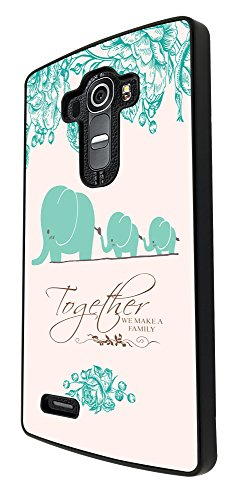 291 - Floral SHabby Chic Multi Elephants Together we make a Family Quote Design For LG G4 Fashion Trend CASE Back COVER Plastic&Thin Metal by Cellbell LTD (Lg G2 Quote Case compare prices)