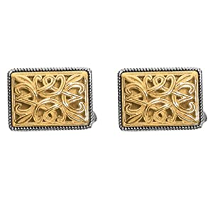 Designer Phillip Gavriel 18k Gold & Sterling Silver Collection Byzantine Filigree Design Cuff Links
