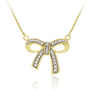 Gold Tone over Sterling Silver Diamond Accent Bow Necklace