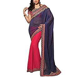 Sareeshoppers Faux Georgette Saree With Blouse Piece(Bhar-002_Blue Red)