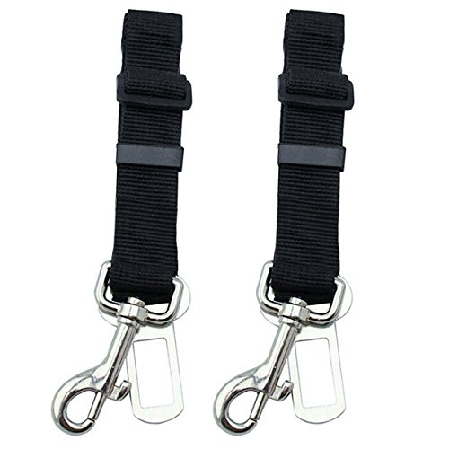 Etekcity 2 Pack Pet Dog Cat Car Vehicle Seat Belt Safety Harness ,Nylon Fabric, 16-27inch Adjustable, Black