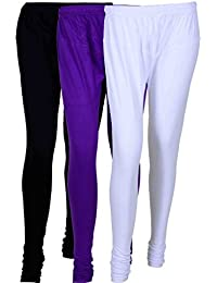 Fashion And Freedom Women's Cotton Leggings Pack Of 3_FFCL_BVW_BLACK-VIOLET-WHITE_FREESIZE