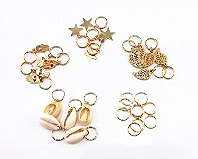 yueton 30pcs Gold Ring Shell Hands Leaves Star Pendant Rings Set Hair Clip Headband Hair Accessories