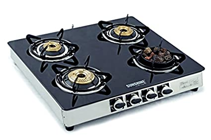 Sunshine Meethi Angeethi 4 Burner Toughened Glass Top Gas Cooktop