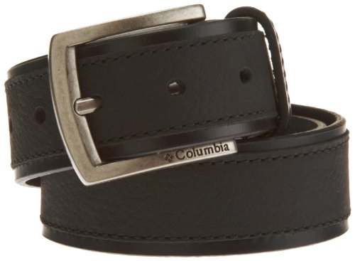 Columbia Mens 38mm Leather Belt With Overlay, Black, 34