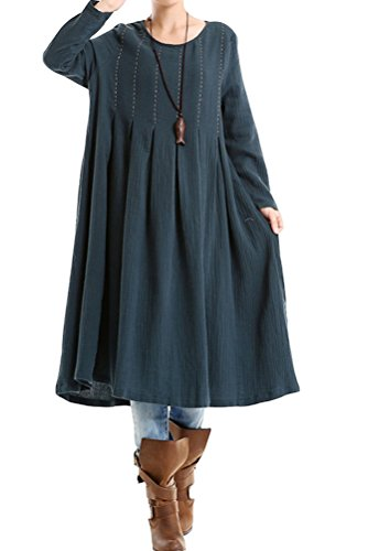 Vogstyle Women's New Cotton Linen Long Sleeve Large Hem Dress Green L