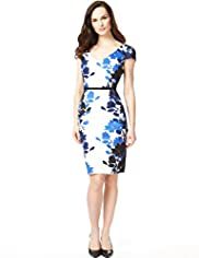 Drop a Dress Size Cotton Rich Mirror Print Dress with Secret Support™
