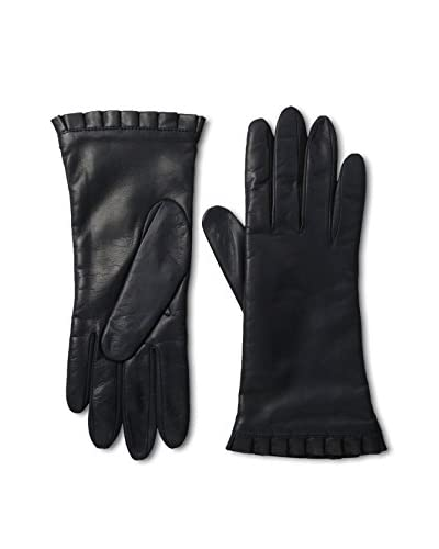 Portolano Women's Ruffle Cuff Leather Gloves