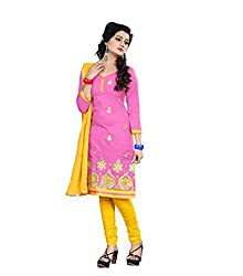 Shree Vardhman Synthetics Peach Puff Semi Cotton Top Straight Unstiched Salwar Suit Dress Material
