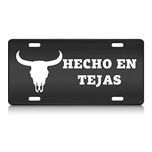 HECHO EN TEJAS Country Cowboy Texas Steel Metal License Plate Auto SUV
