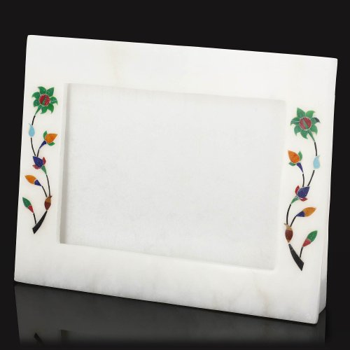 Marmo Bianco Ornament Novelty Photo Frame 12,7 X 17,8 con piedistallo